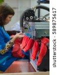 production socks. machine for... | Shutterstock . vector #589875617