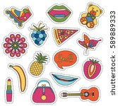 set of fashionable cute patches ... | Shutterstock .eps vector #589889333