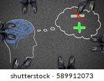 feet around positive thought... | Shutterstock . vector #589912073