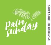 palm sunday text in green... | Shutterstock .eps vector #589913093