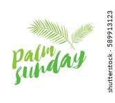 palm sunday title with palms | Shutterstock .eps vector #589913123