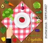 fresh organic food. set of... | Shutterstock .eps vector #589914407