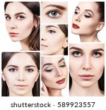 collage of beautiful young... | Shutterstock . vector #589923557