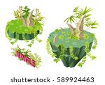 set islands with trees and...   Shutterstock .eps vector #589924463