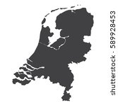 Netherlands Map In Black On A...