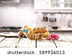 spring breakfast in the morning ... | Shutterstock . vector #589936013