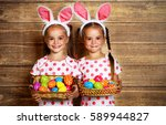 happy easter  cute twins girls...   Shutterstock . vector #589944827