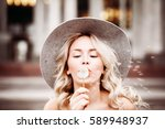 carefree woman outdoors. blonde ... | Shutterstock . vector #589948937