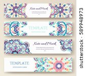 set of ethnic ornament banners... | Shutterstock .eps vector #589948973