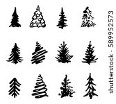 christmas tree icon brush hand... | Shutterstock . vector #589952573
