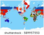world map flags on a blue... | Shutterstock .eps vector #589957553