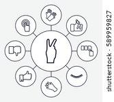finger icons set. set of 9... | Shutterstock .eps vector #589959827