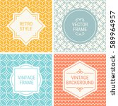 set of vintage frames in yellow ... | Shutterstock .eps vector #589964957