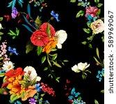 flowers. poppy  wild roses ... | Shutterstock .eps vector #589969067