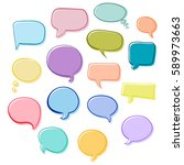 set of bubbles speech  hand... | Shutterstock .eps vector #589973663