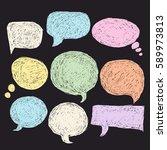 set of bubbles speech  hand... | Shutterstock .eps vector #589973813