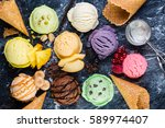 Stock photo selection of colorful ice cream scoops on marble background top view 589974407
