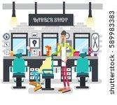 barber trimmed client vector... | Shutterstock .eps vector #589983383