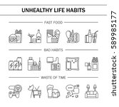 unhealthy lifestyle habits... | Shutterstock .eps vector #589985177