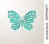 Stock vector elegant paper cut turquoise lacy butterfly laser cut wedding invitation or greeting card design 589996877