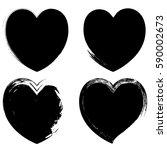 black grunge heart shapes set | Shutterstock .eps vector #590002673