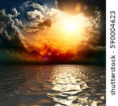 yellow sun set in the middle of ... | Shutterstock . vector #590004623