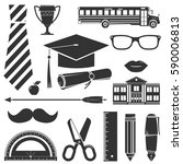 graduation icons set isolated... | Shutterstock .eps vector #590006813