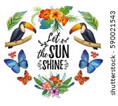 watercolor summer frame for... | Shutterstock . vector #590021543