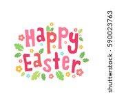 happy easter vector card. happy ... | Shutterstock .eps vector #590023763