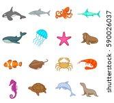 ocean inhabitants icons set....   Shutterstock . vector #590026037