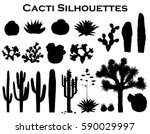 black silhouettes of cacti ... | Shutterstock .eps vector #590029997