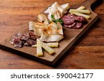 cheese and cured meat...   Shutterstock . vector #590042177