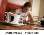 cute brunette on a coffee break | Shutterstock . vector #59006488