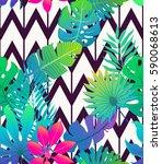 exotic tropical seamless vector ... | Shutterstock .eps vector #590068613