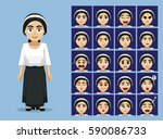 religion orthodox jew lady... | Shutterstock .eps vector #590086733