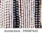 close up of pearl beads  white... | Shutterstock . vector #590087633