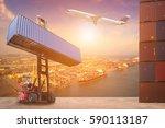 logistics and transportation of ... | Shutterstock . vector #590113187