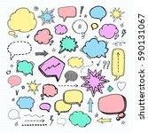 hand drawn set of speech... | Shutterstock .eps vector #590131067