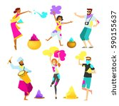 cheerful people celebrating... | Shutterstock .eps vector #590155637