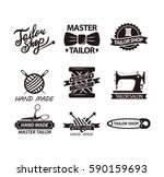 set of logos for handmade shops.... | Shutterstock .eps vector #590159693