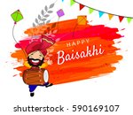 happy baisakhi  vector... | Shutterstock .eps vector #590169107