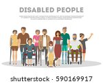 Disabled People Banner In Flat...