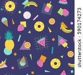 colorful summer pattern with... | Shutterstock .eps vector #590174273