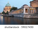 Museumsinsel in Berlin with Alte Nationalgalerie and Berliner Dom. River Spree in foreground. - stock photo