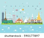 thailand landmarks travel and... | Shutterstock .eps vector #590177897