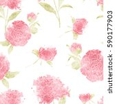 seamless pattern with peonies ... | Shutterstock . vector #590177903