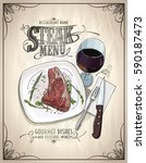 steak menu design concept with... | Shutterstock .eps vector #590187473