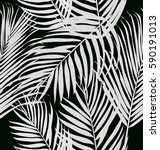 tropical palm leaves  pattern . | Shutterstock .eps vector #590191013
