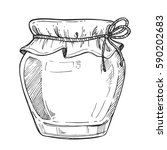 mason jar freehand pencil... | Shutterstock .eps vector #590202683