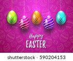 happy easter vector typography... | Shutterstock .eps vector #590204153